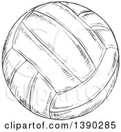 Gray Sketched Volleyball