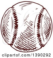 Clipart Of A Sketched Baseball Royalty Free Vector Illustration by Vector Tradition SM