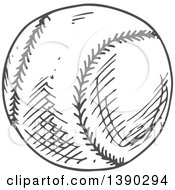Clipart Of A Gray Sketched Baseball Royalty Free Vector Illustration by Vector Tradition SM