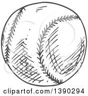 Poster, Art Print Of Gray Sketched Baseball