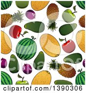 Clipart Of A Seamless Background Pattern Of Fruits Royalty Free Vector Illustration by Vector Tradition SM