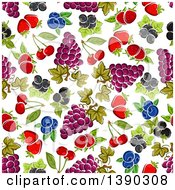 Clipart Of A Seamless Background Pattern Of Fruits Royalty Free Vector Illustration