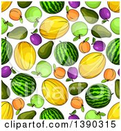 Clipart Of A Seamless Background Of Melons Apricots Apples And Plums Royalty Free Vector Illustration by Vector Tradition SM
