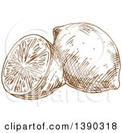 Clipart Of A Brown Sketched Lemon Or Lime Royalty Free Vector Illustration