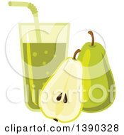 Clipart Of A Glass Of Juice And Pears Royalty Free Vector Illustration by Vector Tradition SM