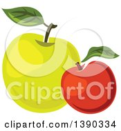 Clipart Of Red And Green Apples Royalty Free Vector Illustration