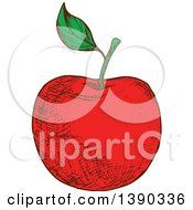 Clipart Of A Sketched Red Apple Royalty Free Vector Illustration by Seamartini Graphics