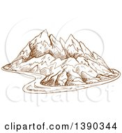 Clipart Of A Sketched Landscape Of Mountains And A Road Royalty Free Vector Illustration by Seamartini Graphics