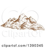 Clipart Of A Sketched Landscape Of Mountains Royalty Free Vector Illustration by Seamartini Graphics