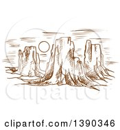 Clipart Of A Sketched Landscape Of Rocky Formations Or Mountains And The Sun Royalty Free Vector Illustration by Seamartini Graphics