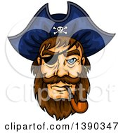Clipart Of A Brunette White Pirate Captain Wearing An Eye Patch And Smoking A Pipe Royalty Free Vector Illustration by Vector Tradition SM