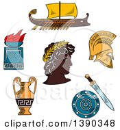 Clipart Of A Sketched Greek Emperor Amphora Soldier Helmet Shield Sword Fire Bowl And Warship Galley Royalty Free Vector Illustration