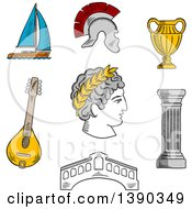 Clipart Of A Sketched Italian Caesar Roman Helmet Venice Bridge Ancient Vase Mandolin Doric Column And Sailboat Royalty Free Vector Illustration