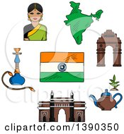 Poster, Art Print Of Sketched Gate Way Arch Woman In A Sari National Flag Pot Of Tea And A Hookah Pipe
