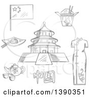 Poster, Art Print Of Sketched Chinese Travel Icons National Flag Woman Kimono Tea Kettle With Cups Bowl With Rice And Chopstick Noodle Box And Ancient Temple Of Heaven