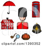 Clipart Of A Sketched British Guard Soldier Telephone Booth Police Helmet Detective Cap Pipe And Magnifier Umbrella And Old Building Royalty Free Vector Illustration by Vector Tradition SM