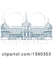 Clipart Of A Blue Thai Travel Landmark Grant Palace Royalty Free Vector Illustration