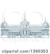 Clipart Of A Blue Thai Travel Landmark Grant Palace Royalty Free Vector Illustration