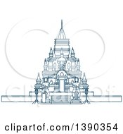 Clipart Of A Blue Thai Travel Landmark Laem Sor Pagoda Royalty Free Vector Illustration by Vector Tradition SM