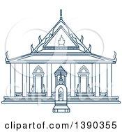 Clipart Of A Blue Thai Travel Landmark Wat Sattahip Royalty Free Vector Illustration
