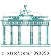 Clipart Of A Turquoise Lineart Styled Landmark Brandenburg Gate Royalty Free Vector Illustration