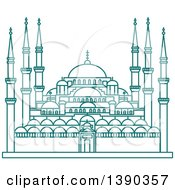 Clipart Of A Turquoise Lineart Styled Landmark Hagia Sophia Royalty Free Vector Illustration by Vector Tradition SM