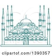 Turquoise Lineart Styled Landmark Hagia Sophia