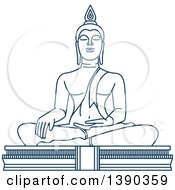 Clipart Of A Blue Thai Travel Landmark Big Buddha Temple Royalty Free Vector Illustration