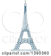 Clipart Of A Blue Lineart Styled Landmark Eiffel Tower Paris France Royalty Free Vector Illustration