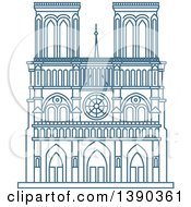 Clipart Of A Blue Lineart Styled Landmark Notre Dame De Paris Cathedral Royalty Free Vector Illustration