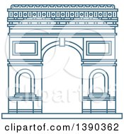 Clipart Of A Blue Lineart Styled Landmark Arc De Triumph Royalty Free Vector Illustration