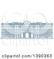 Clipart Of A Blue Lineart Styled Landmark Winter Palace Royalty Free Vector Illustration
