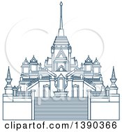 Clipart Of A Blue Thai Travel Landmark Temple Of Golden Buddha Royalty Free Vector Illustration