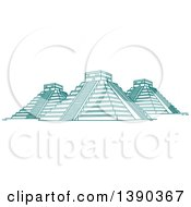 Clipart Of A Turquoise Lineart Styled Landmark El Castillo Royalty Free Vector Illustration