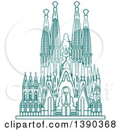 Clipart Of A Turquoise Lineart Styled Landmark Sagrada Familia Royalty Free Vector Illustration