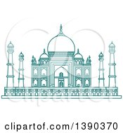 Clipart Of A Turquoise Lineart Styled Landmark The Taj Mahal Royalty Free Vector Illustration