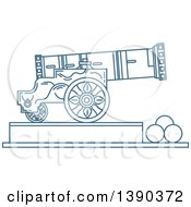 Clipart Of A Blue Lineart Styled Landmark Tsar Cannon Russia Royalty Free Vector Illustration