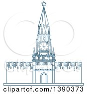 Clipart Of A Blue Lineart Styled Landmark Kremlin Wall With Clock Tower Royalty Free Vector Illustration by Vector Tradition SM