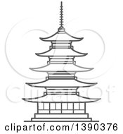 Clipart Of A Sketched Gray Pagoda In Temple Of Flourishing Law Royalty Free Vector Illustration by Vector Tradition SM