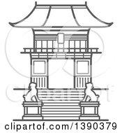 Clipart Of A Sketched Gray Eva Gate Of Kiyomizu Dera Temple Royalty Free Vector Illustration