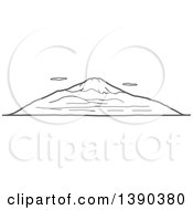 Clipart Of A Sketched Gray Landscape With Mt Fuji Royalty Free Vector Illustration