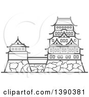 Clipart Of A Sketched Gray Imperial Palace Royalty Free Vector Illustration
