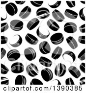 Seamless Background Pattern Of Black And White Hockey Pucks