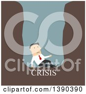 Clipart Of A Flat Design White Businessman Trapped In A Crisis Hole On Blue Royalty Free Vector Illustration