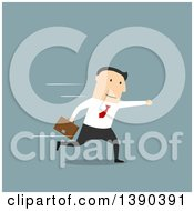 Clipart Of A Flat Modern Design Styled White Businessman Running Over Blue Royalty Free Vector Illustration