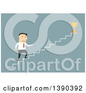 Clipart Of A Flat Design White Business Man Climbing Towards A Trophy On Blue Royalty Free Vector Illustration