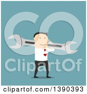 Clipart Of A Flat Design White Businessman Carrying A Wrench On Blue Royalty Free Vector Illustration