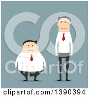 Clipart Of Flat Design Opposite Short And Fat And Tall And Thin White Business Men On Blue Royalty Free Vector Illustration
