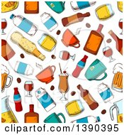Poster, Art Print Of Seamless Background Pattern Of Beverages