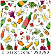 Clipart Of A Seamless Background Pattern Of Alcohol And Fruit Royalty Free Vector Illustration by Vector Tradition SM